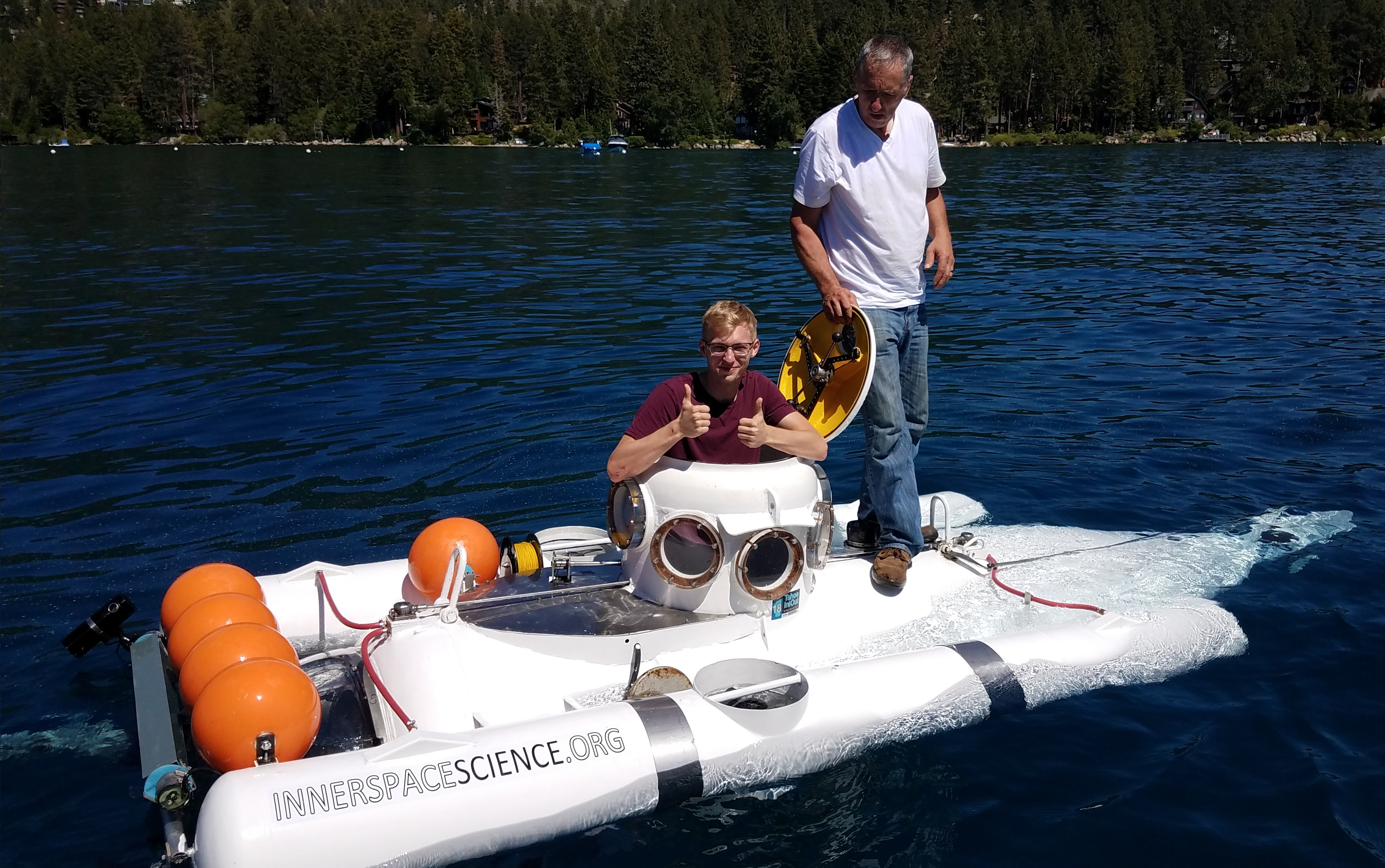 Education intern Noah tests a submarine in Lake Tahoe