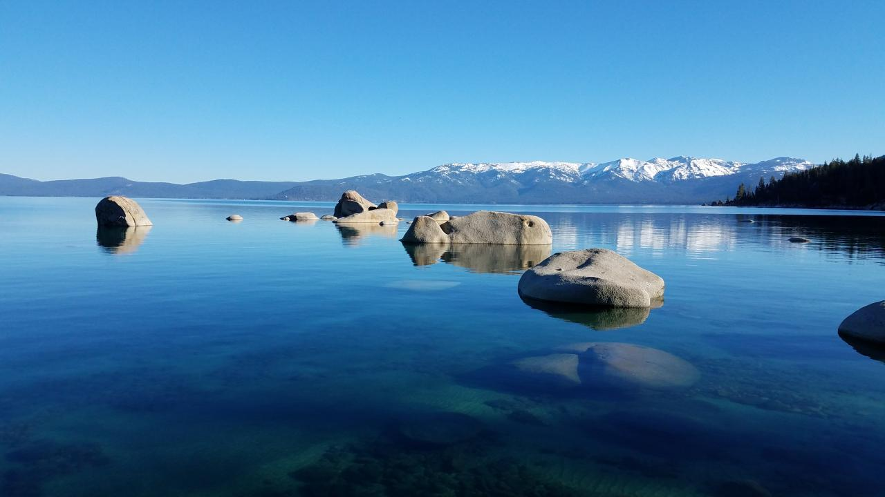 Lake Tahoe right after sunrise