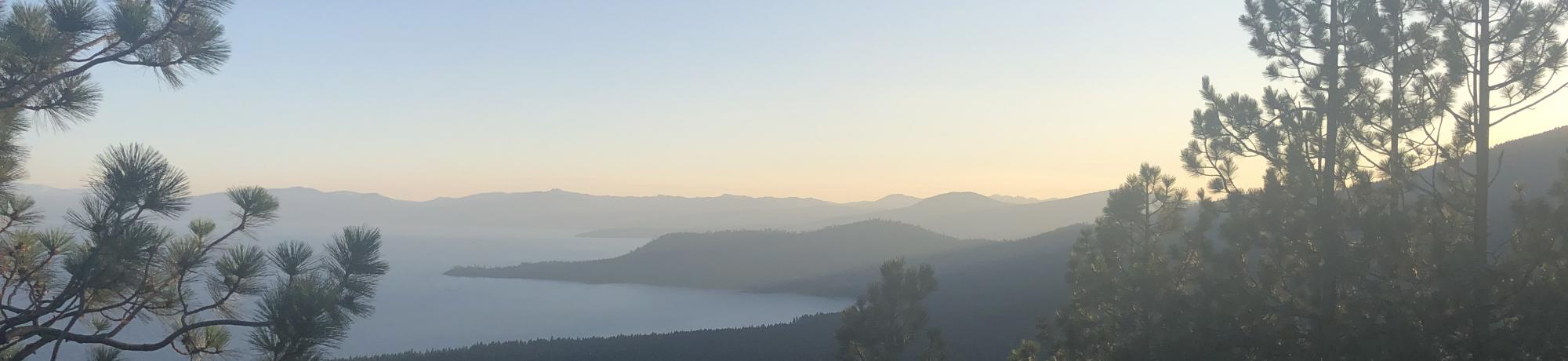 Image of the Lake Tahoe Basin with smoke